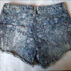 Free People Shorts - Free People Paisley Denim Shorts